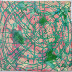 Emerald Pools is a multi layered acrylic on handmade Moulin de Larroque paper. Peach and pink form the background above which are crossing lines of green and blue-green, some of which have collected into pools and dried to a brighter green. A contemporary abstract artwork.