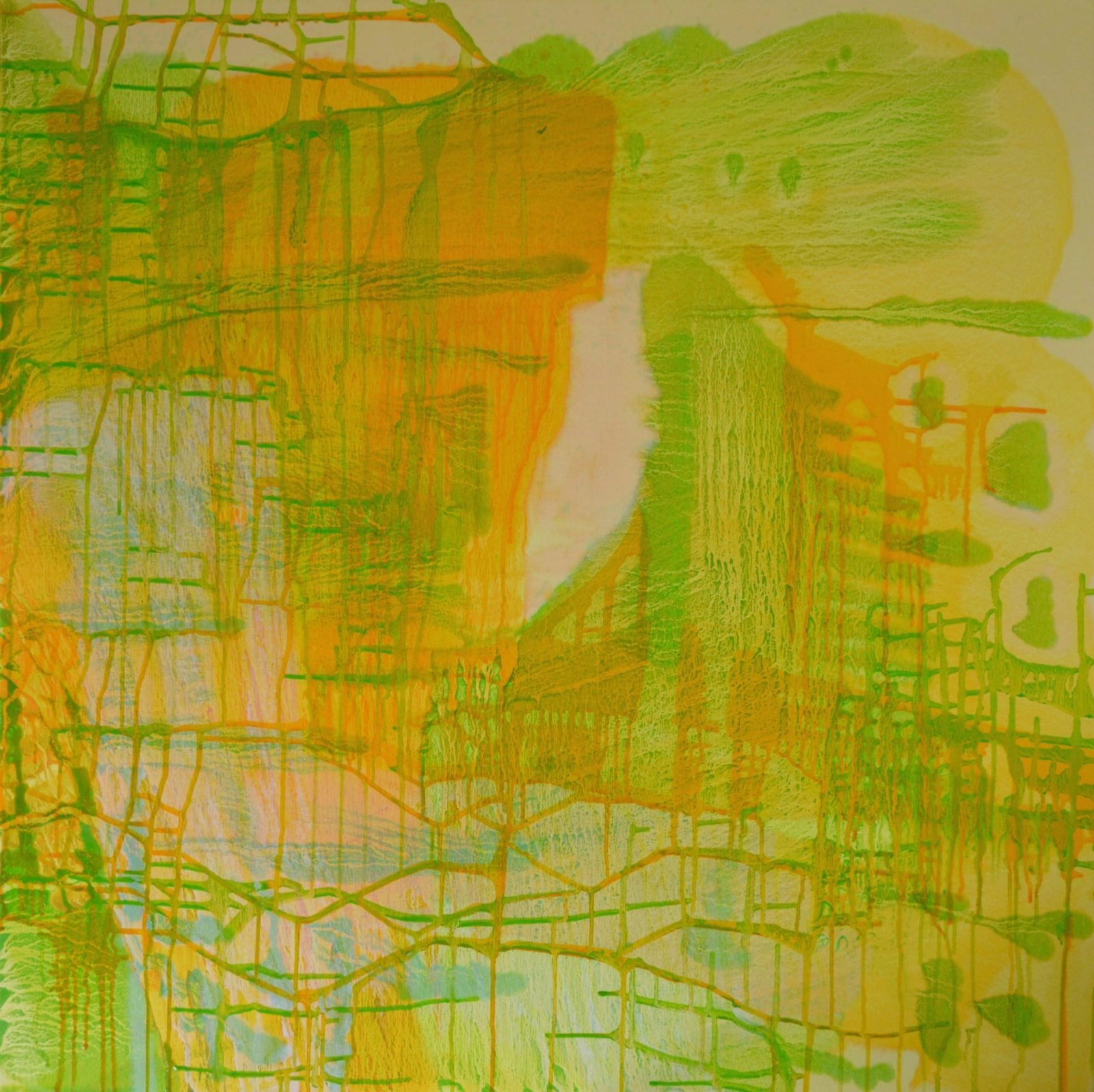 I am invisible is an abstract artwork by Ruth Dent. The pale peach, lime green and orange oil paints were poured over the canvas and moved around whilst wet to give a layered and in places a grid-like effect.