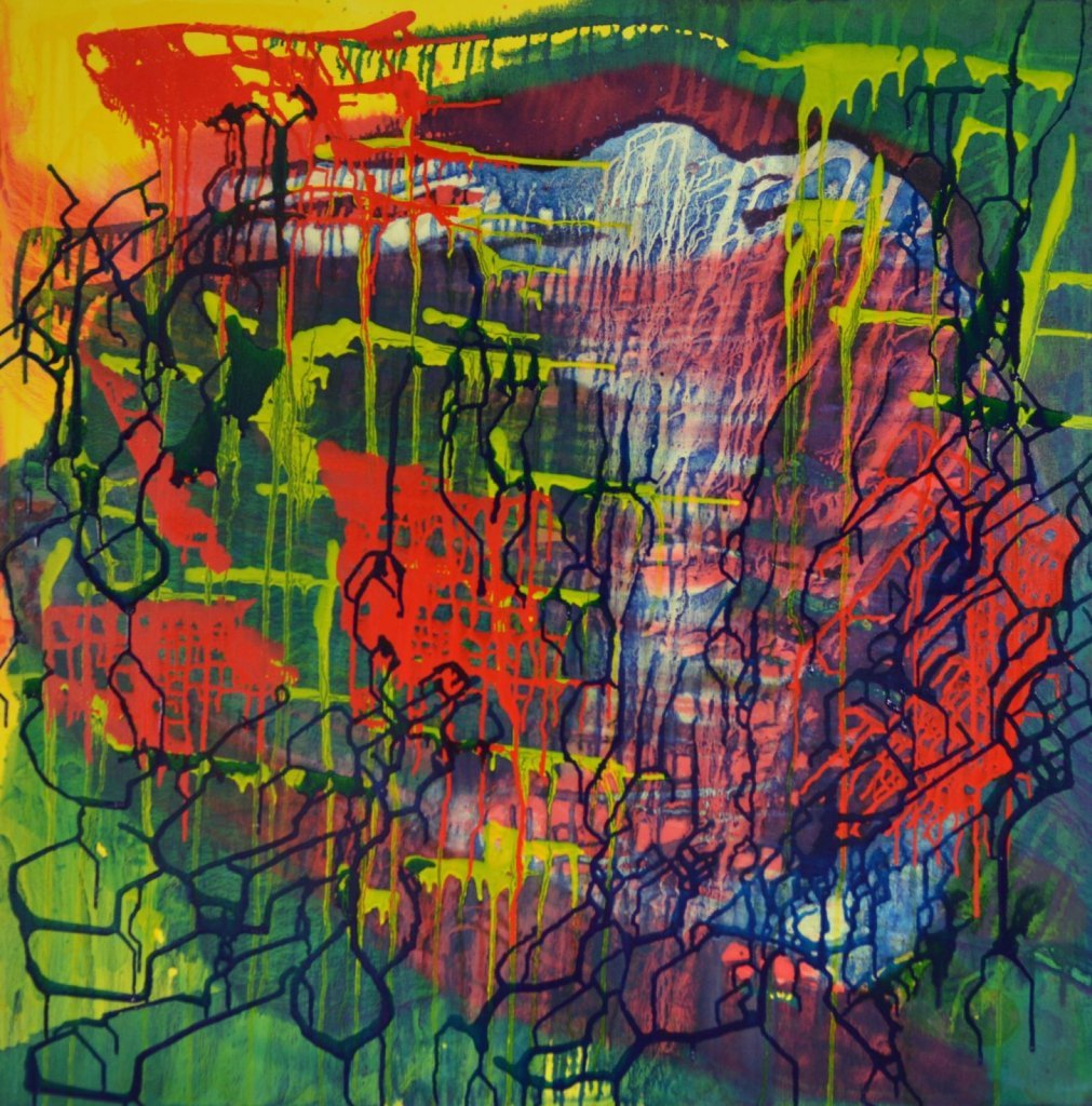 In a state of osmosis is an abstract artwork by Ruth Dent. The first in the Visible, Invisible, Veiled series. An oil on canvas in yellow, blue, green and red with multiple layers of broken grids.