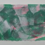 Shifting Sand 6 in bright green, pink and silver, on Moulin de Larroque Lys paper. One of a series of 6 mono screen prints inspired by the movement found in opals.