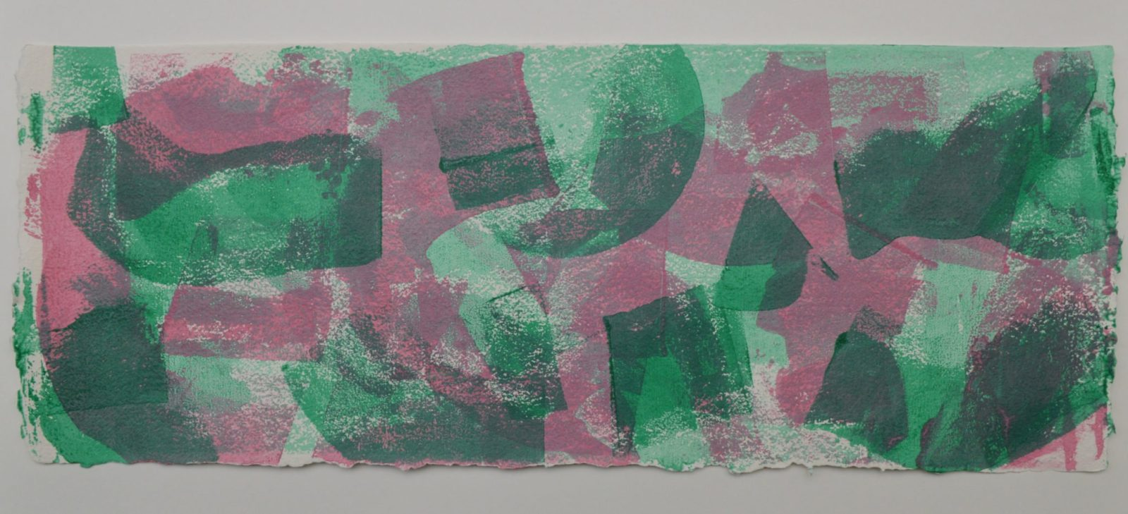 Shifting Sand 1 in bright green, pink and pale green, on Moulin de Larroque Lys paper. One of a series of 6 mono screen prints inspired by the movement found in opals.