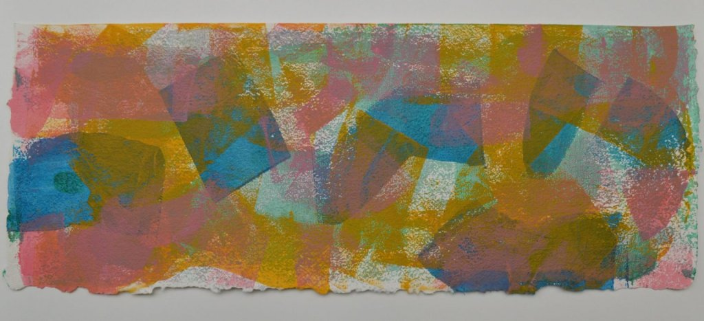 Shifting Sand 4 in bright blue, yellow, pink and pale green, on Moulin de Larroque Lys paper. One of a series of 6 mono screen prints inspired by the movement found in opals.