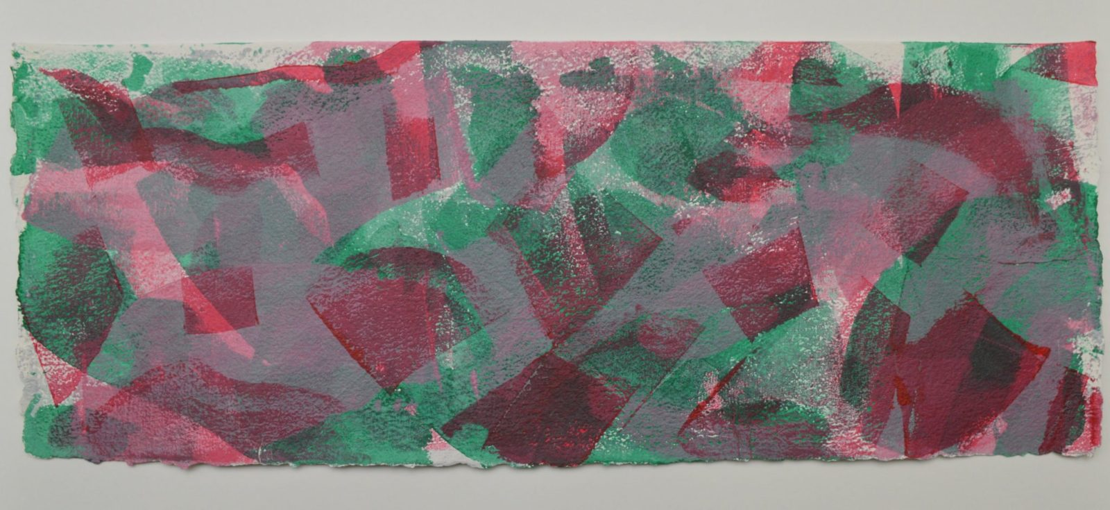 Shifting Sand 2 in bright green, red and pale pink, on Moulin de Larroque Lys paper. One of a series of 6 mono screen prints inspired by the movement found in opals.