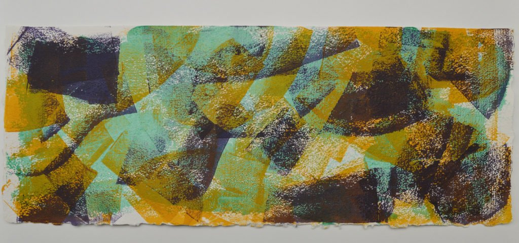 Shifting Sand 3 in bright yellow, violet and pale green, on Moulin de Larroque Lys paper. One of a series of 6 mono screen prints inspired by the movement found in opals.