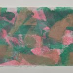 Shifting Sand 5 in bright green, pink and bronze, on Moulin de Larroque Lys paper. One of a series of 6 mono screen prints inspired by the movement found in opals.