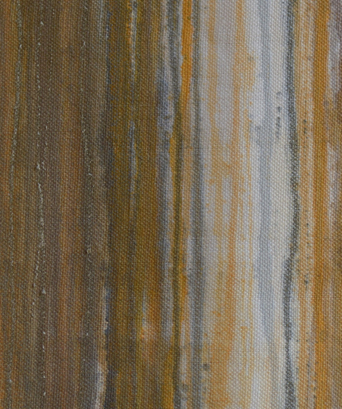 Detail of Serenade, Gold Ochre, one of the three outside panels of acrylic on canvas of Serenade, which consists of 6 canvases, each 137cm high and 320cm wide