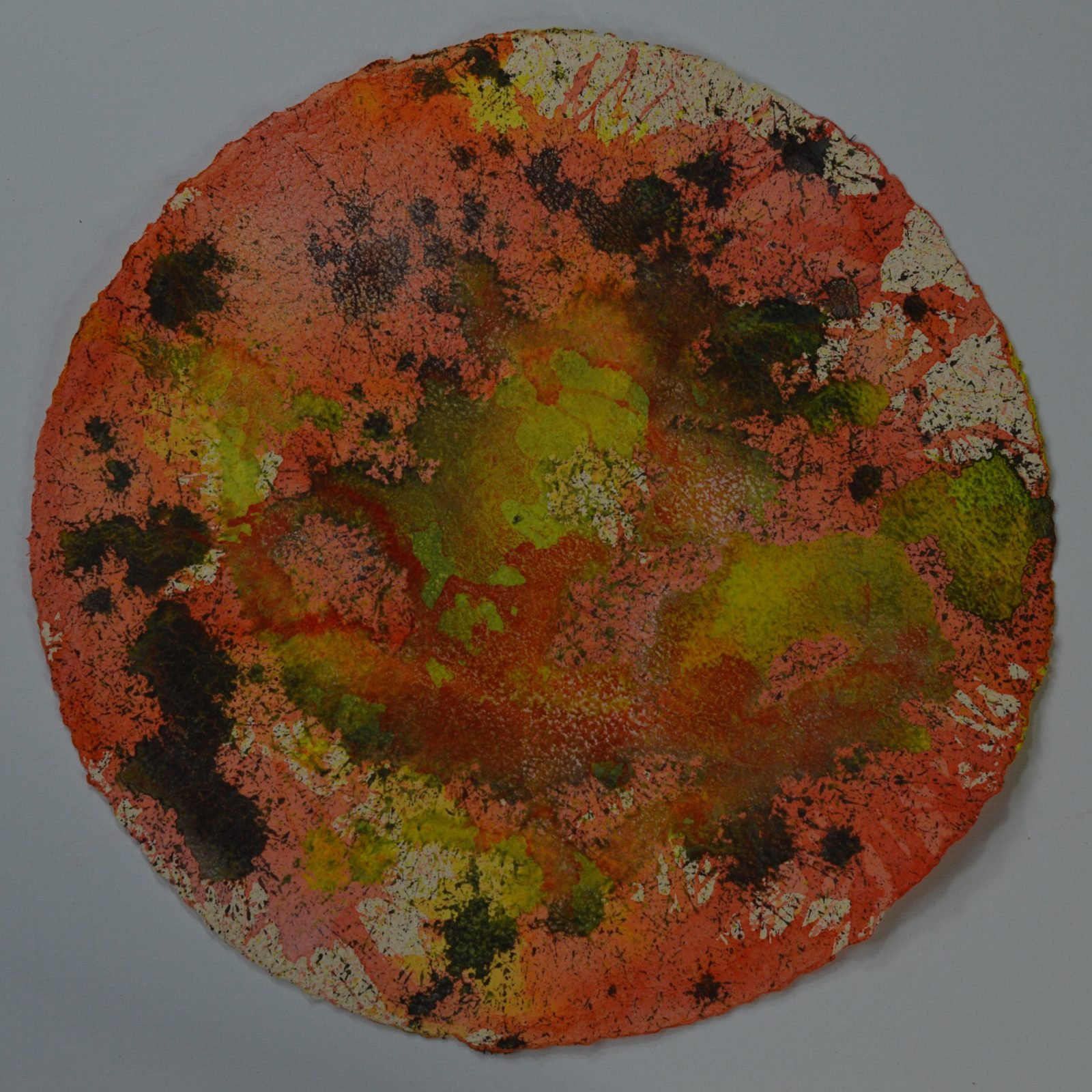 Ginan is a bright abstract painting fizzing with vermilion, lemon yellow, acid green and spots of oxide black. Painted on a 50cm circle of Moulin de Larroque, Ginan is part of The Day the Sky Shattered and Flew Away series.