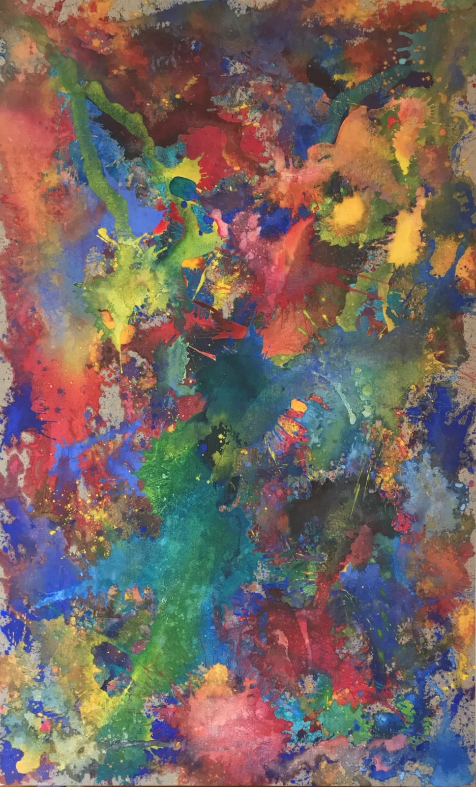 The Day the Sky Shattered and Flew Away 2 - an energetic and explosive melange of greens, blues, pinks, yellows and oranges vie for attention in this centripetal image. 183cm x 112cm acrylic on thick ecru canvas.