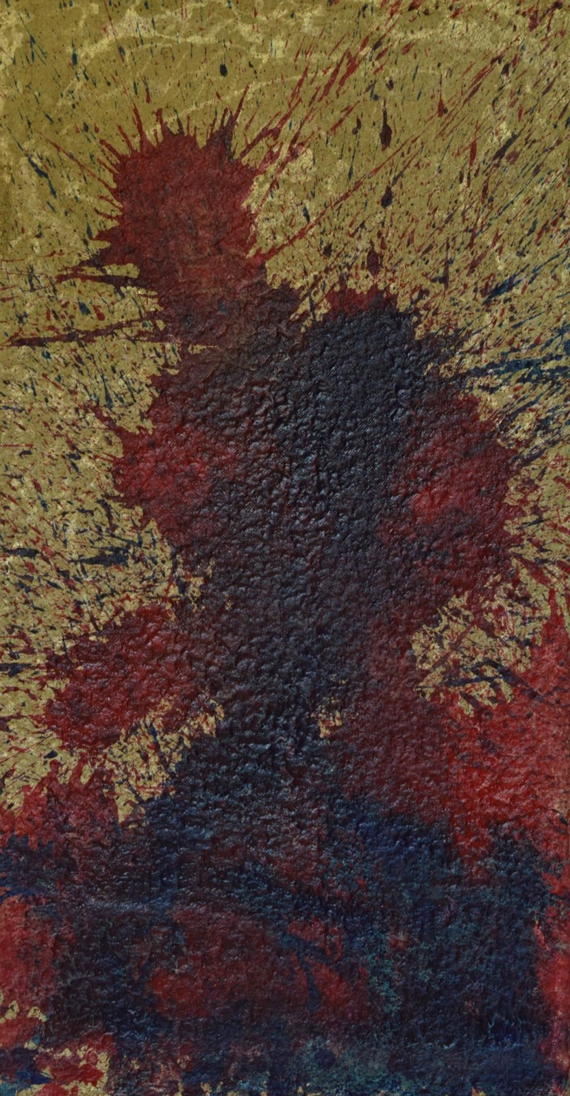 Uprising is an unusually violent image. A figure emerges from a maelstrom of red and blue against a gold background. Shaking with energy and raw anger, this acrylic on thick 600gsm handmade Moulin de Larroque paper measures 108cm high and 58cm wide. Part of the Day the Sky Shattered and Flew Away series