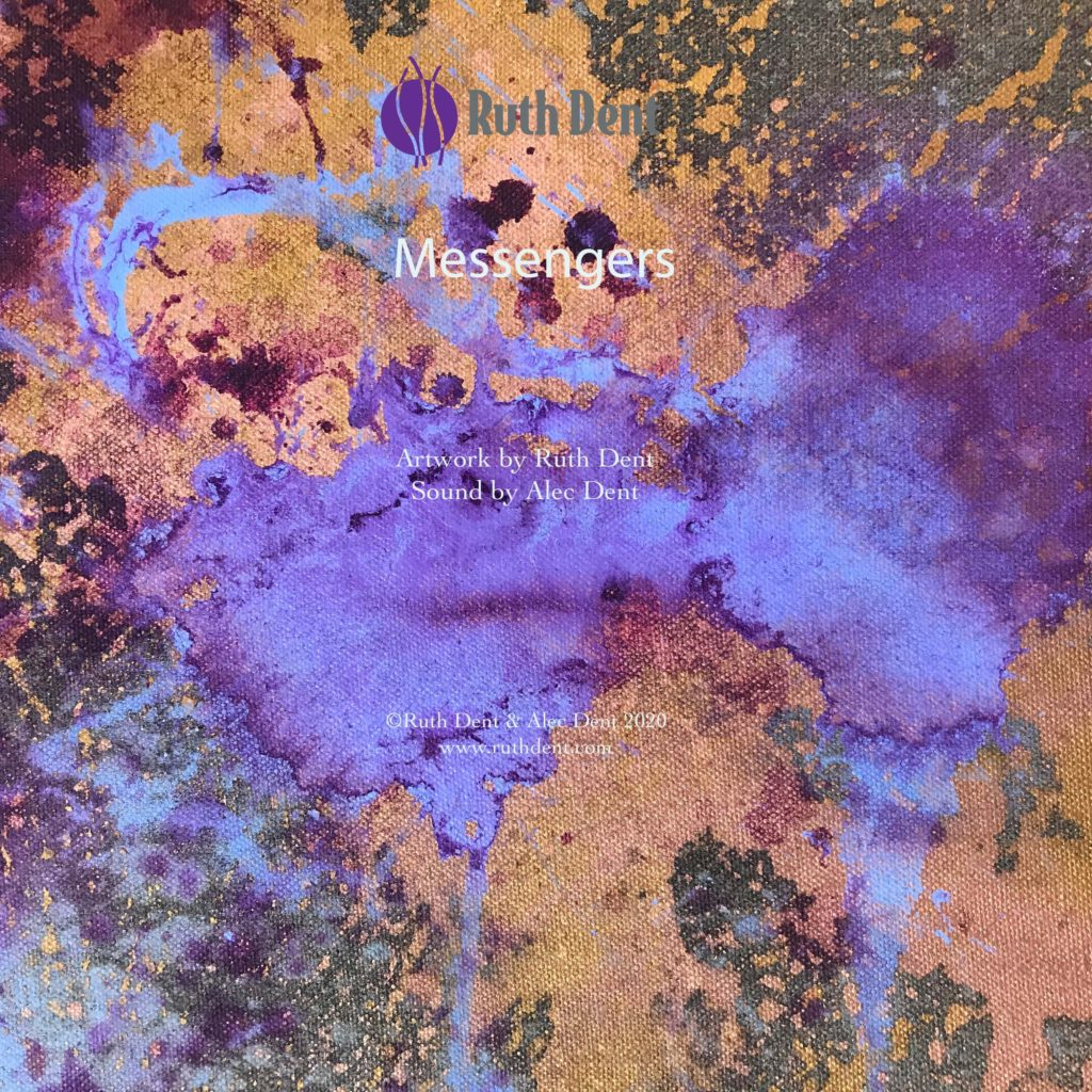 Title for Ruth Dent's video, Messengers. Shows a detail of abstract artwork The Messengers in gold, amethyst and king's blue.