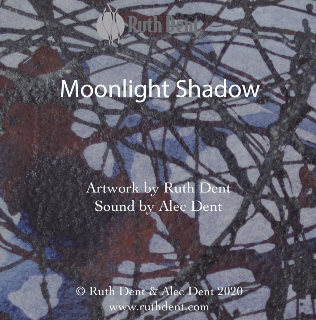 Title page for Moonlight Shadow video, with abstract artwork Orbital, which has a pale grey background and is covered with orbiting and crossing lines in pale blue, deep blue and rich chestnut.
