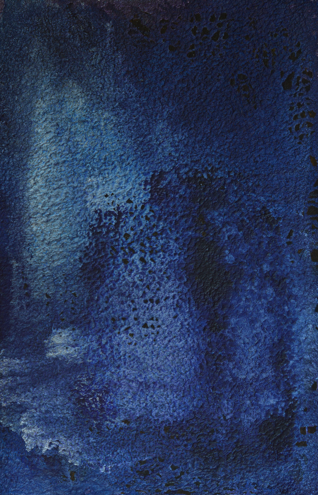 Nocturnal Luminance is dark with Prussian blue above which violet and bluish-lilac white shift up and down the textured paper. Acrylic on Moulin de Larroque handmade paper, measuring 11cm x 71cm. One of the abstract paintings within the Day the Sky Shattered and Flew Away.