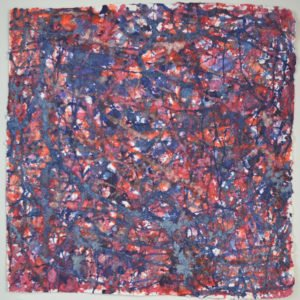 Lifeforce is a densely painting abstract in reds, oranges, purples, blues and pinks. Some areas are so layered with paint they look crusted. Full of energy and life, Life-force is an acrylic on Moulin de Larroque paper, 84 x 84cm
